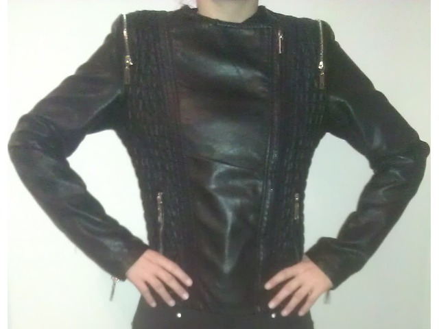 kožna jakna, crna