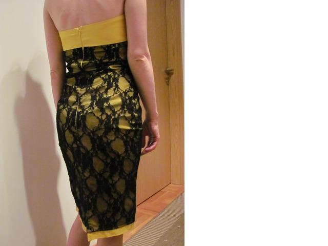 Vintage žuta haljina s čipkom