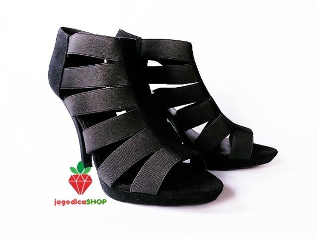 DEICHMANN crne sandale gladijatorice rastezljive 41