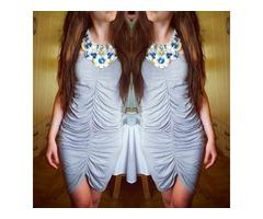 Siva naborana haljina S